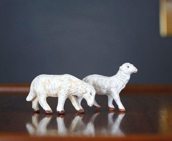 Vintage Japan Sheep Set 2 Antique Church Nativity by shopatmoxie