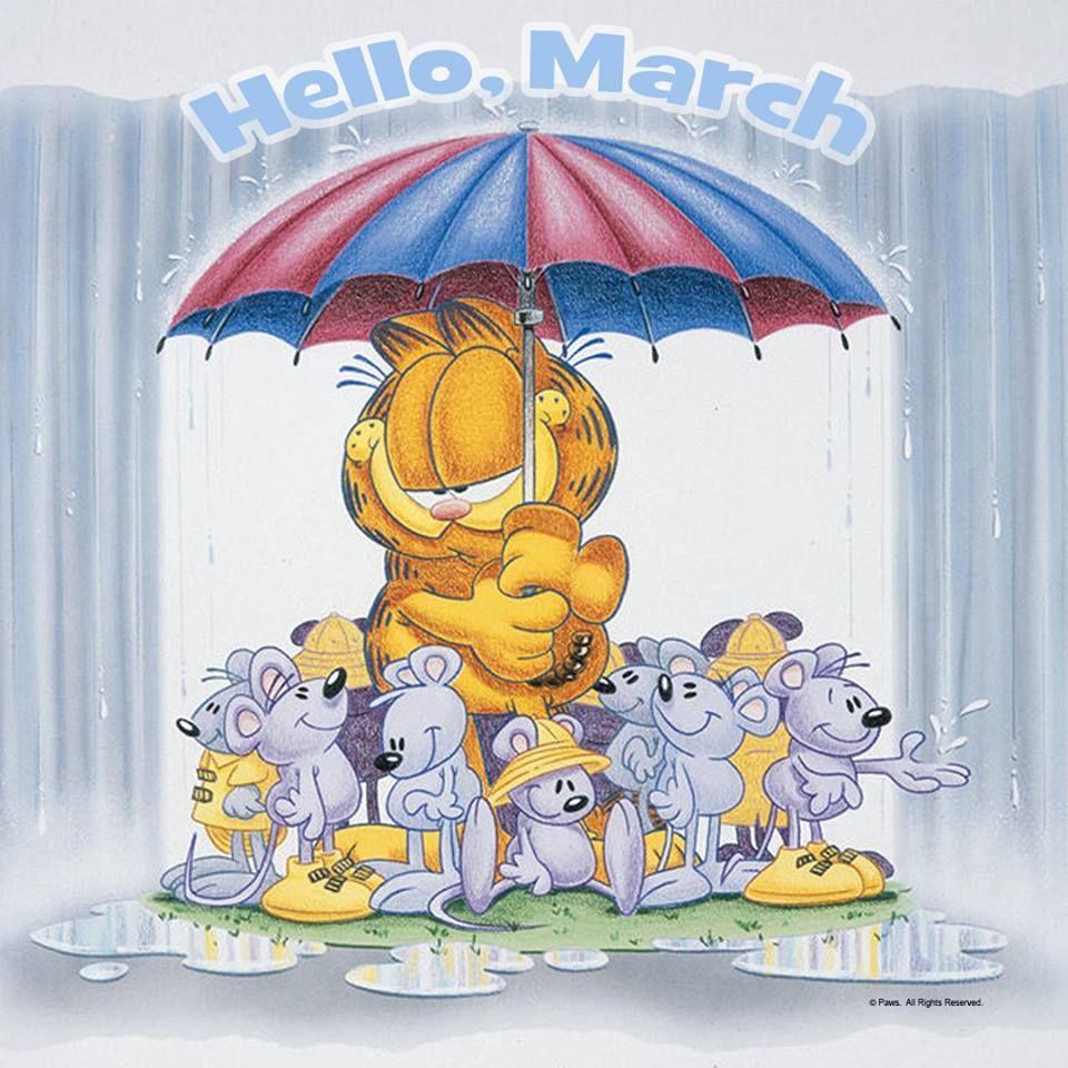 Hello March Garfield And Odie Garfield Big Umbrella