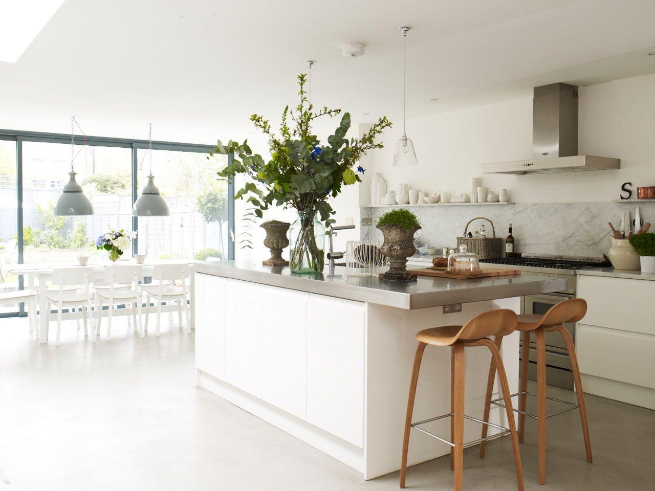 Beautiful open natural modern kitchen space interior