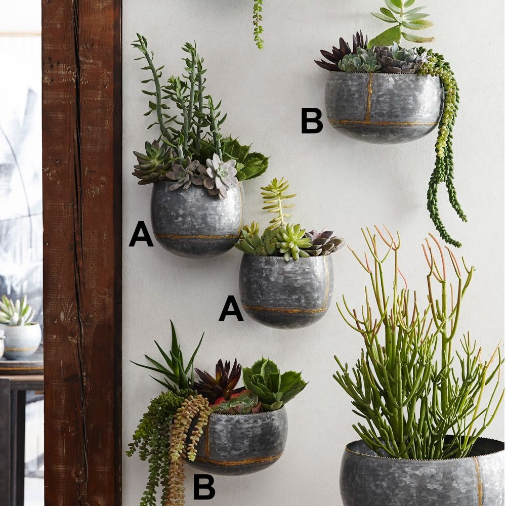 Braza Galvanized Wall Planters By Roost Planters