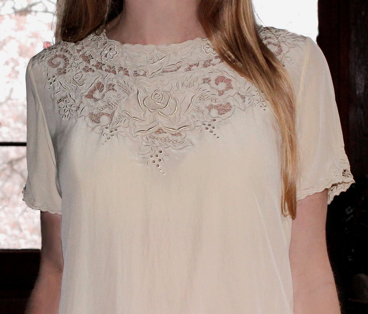 Vintage silk cutwork lace blouse hand embroidered in cream