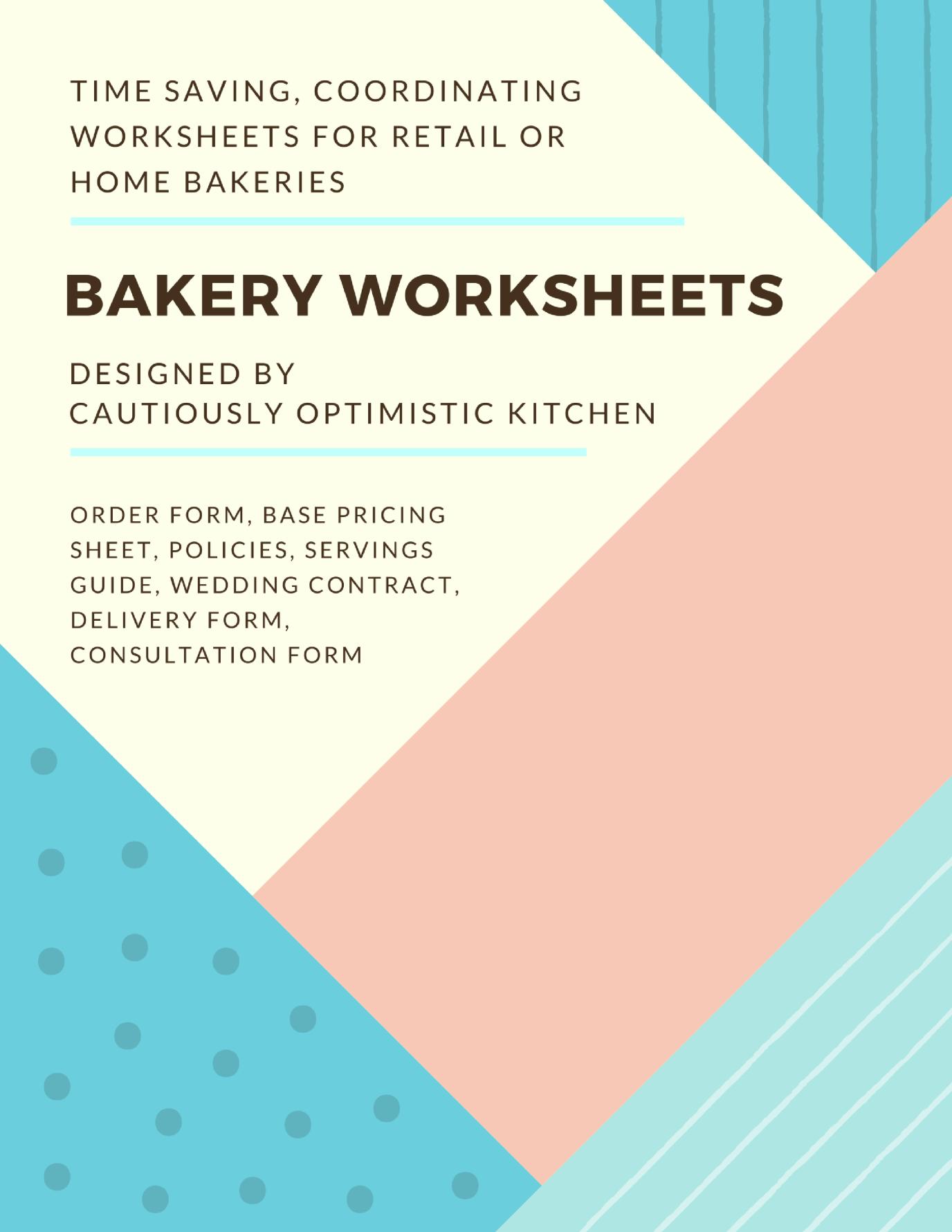 Bakery Worksheets Packet In