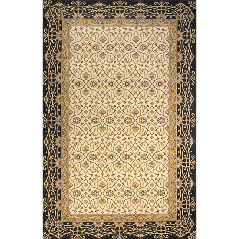 Momeni Royal Persian Border Hand Finished New Zealand Wool Rug 9 6 X 13 Charcoal Grey Size Natural Fiber Oriental