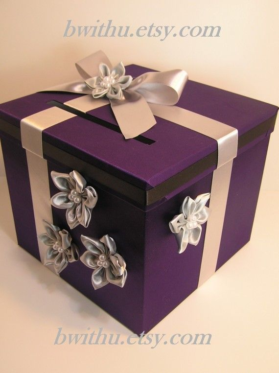 Wedding Card Box Purple and Silver Gift Card Box Money Box  Holder--Customize your color