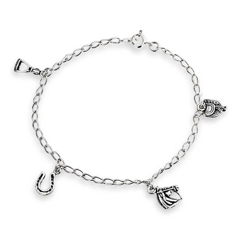 bling jewelry horseshoe equestrian horse charm bracelet sterling