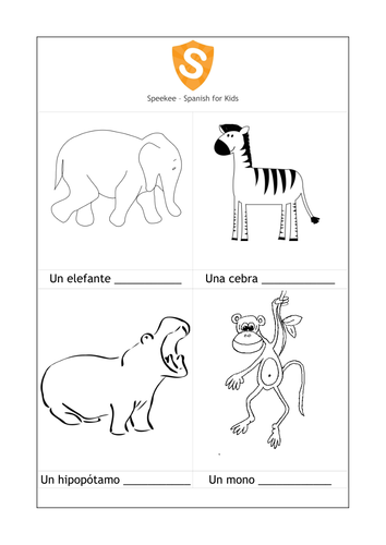 Made by Teachers: Animals In Spanish Worksheets