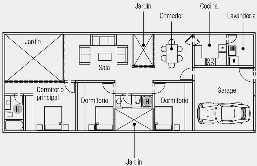 Plano de casa de 3 dormitorios en 1 planta casas - Planos de casas americanas ...