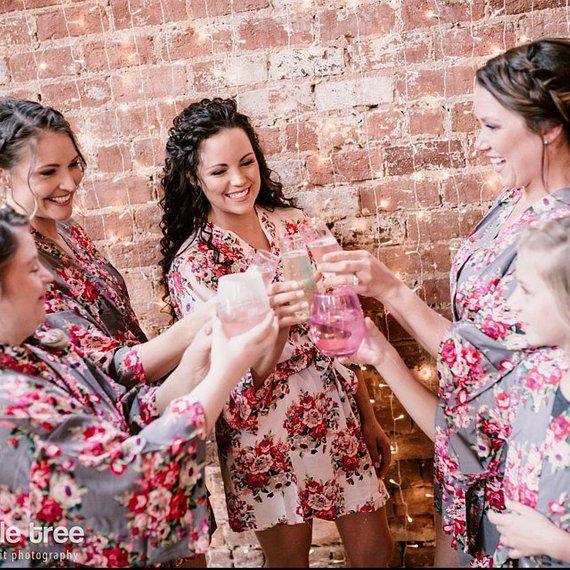 Bridesmaid Robes Floral Cotton Robes Grey Robe Bridal