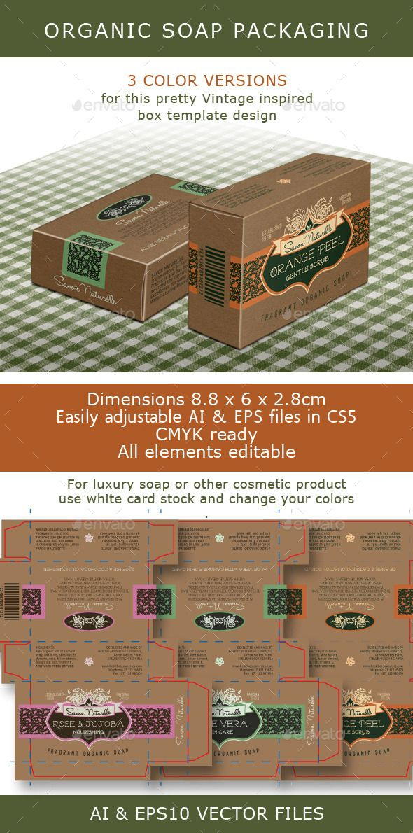 soap box design template - soap box brown box for organic soap bar template vector