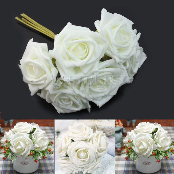 1 Bunch 6pcs Artificial Foam Ivory Roses Flower Wedding Party Decor 6cm Heads Flower Bouquet Wedding Ivory Roses Foam Roses