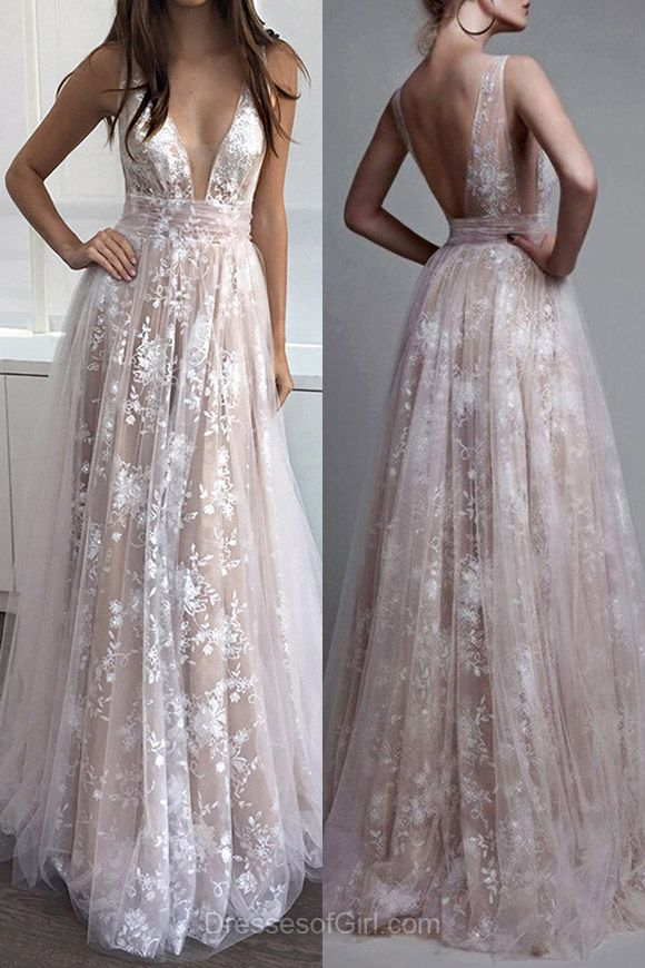5655cc07df9 Elegant A-line V-neck Tulle Floor-length with Appliques Lace Prom Dress