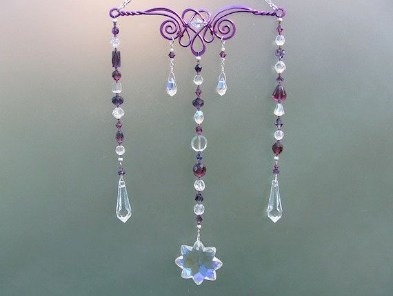 Hanging Crystal Suncatcher Mobile, Crystal Window Decoration   Purple Wire  Design Beaded With Crystal U0026