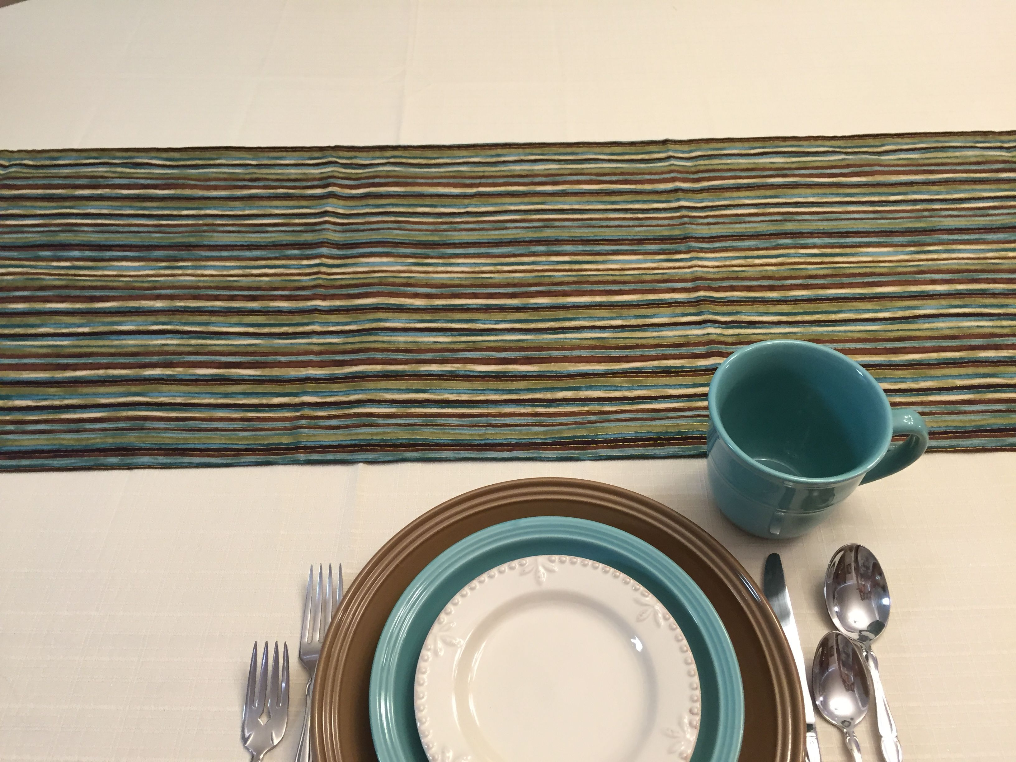 Found this fabric and loved it! Table scaping with dollar store ...