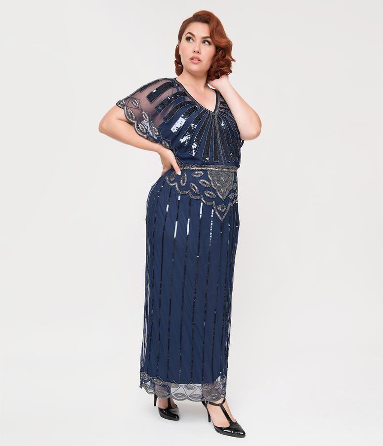 Plus Size 1920s Black Beaded Deco Angelina Maxi Flapper