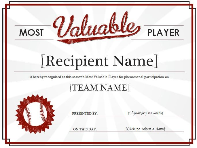 Most Valuable Player Award Certificate It is a recognition of his - free printable certificate templates word