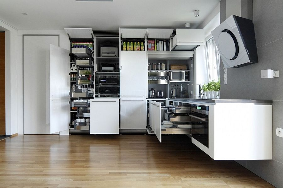 Lavish Apartment Renovation Showcases An Array Of Spacesaving Interesting Space Saving Kitchen Designs Decorating Design