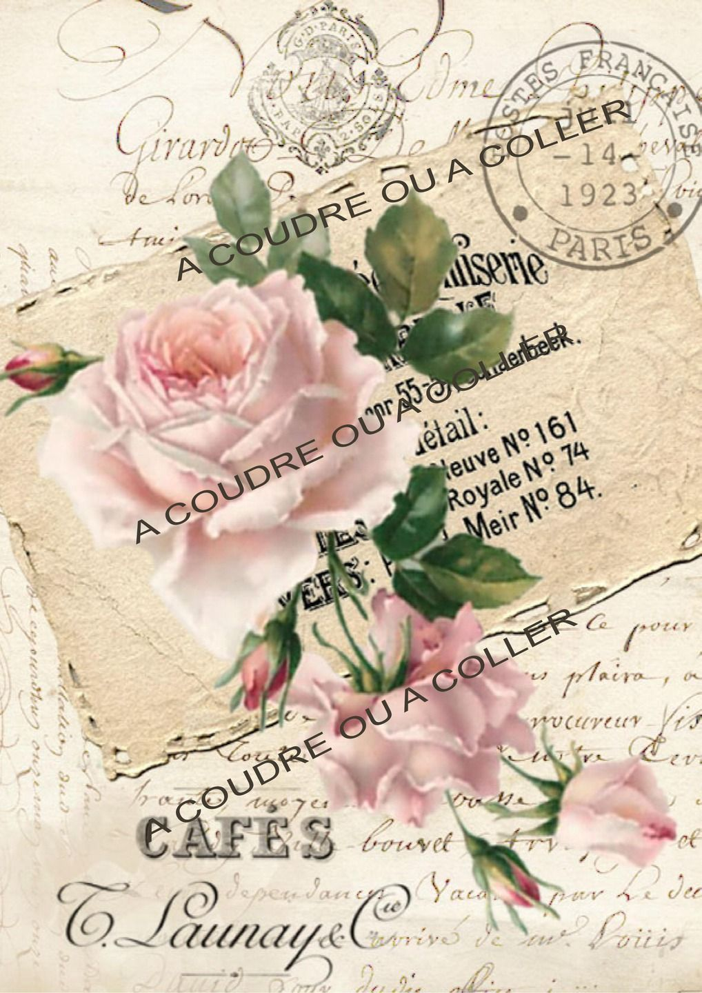 Tissus Roses Anciennes Vignette Tissu Rose Shabby Chic écriture Ancienne 40