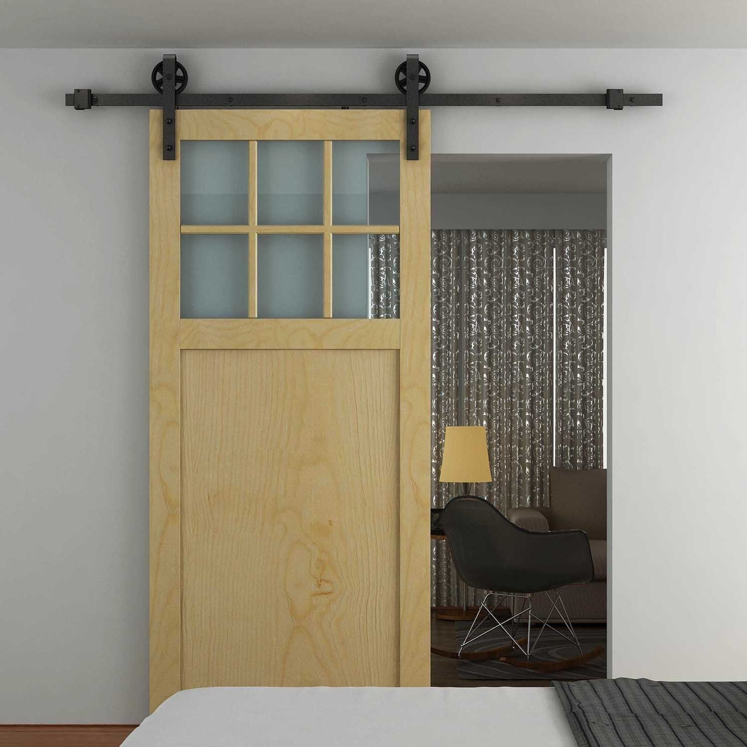 HOMCOM Sliding Barn Door Kit-Carbon Steel | aosom.co.uk | Bathroom ...