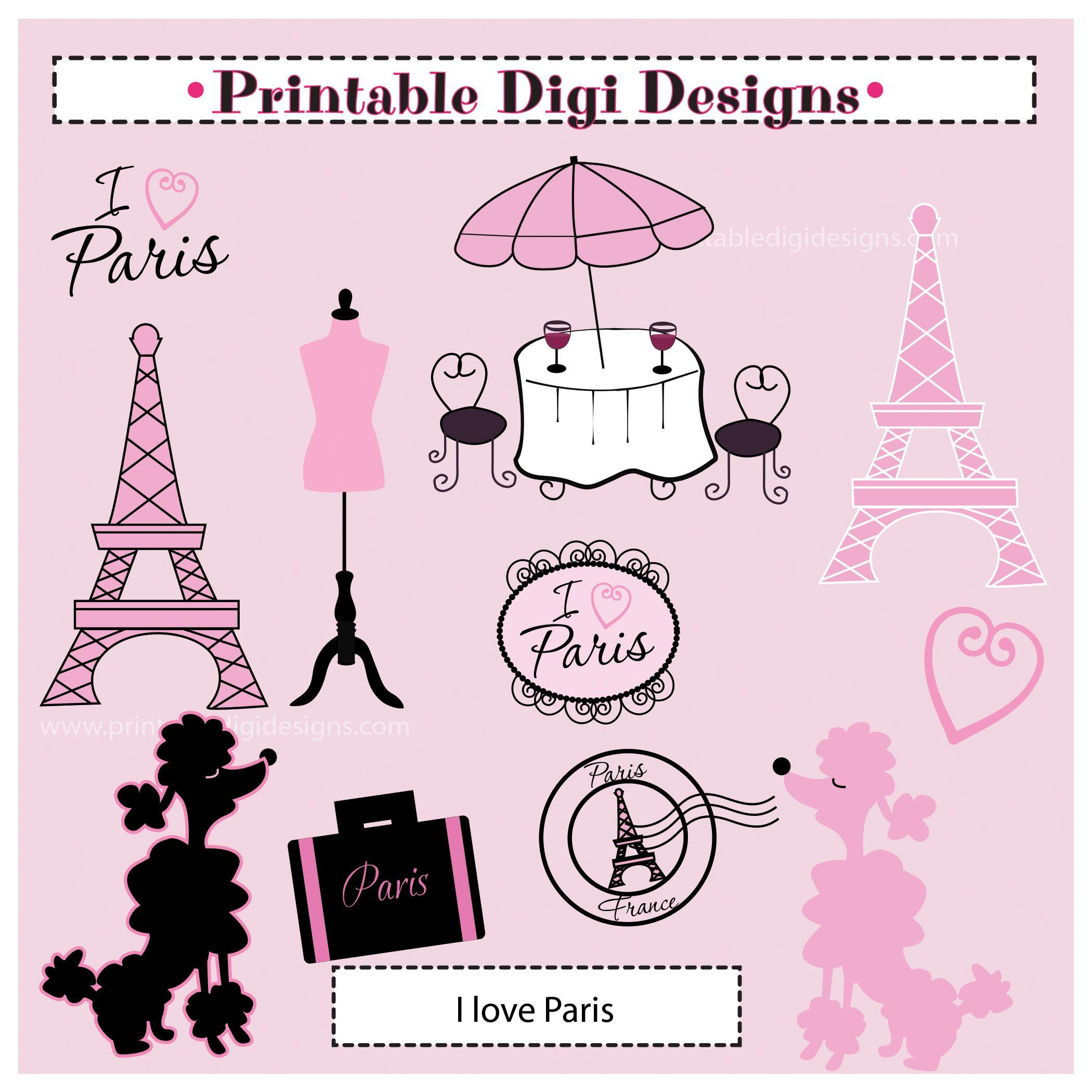 A Paris Apartment And A Paris Graphic: I Love Paris Clipart Graphic Set