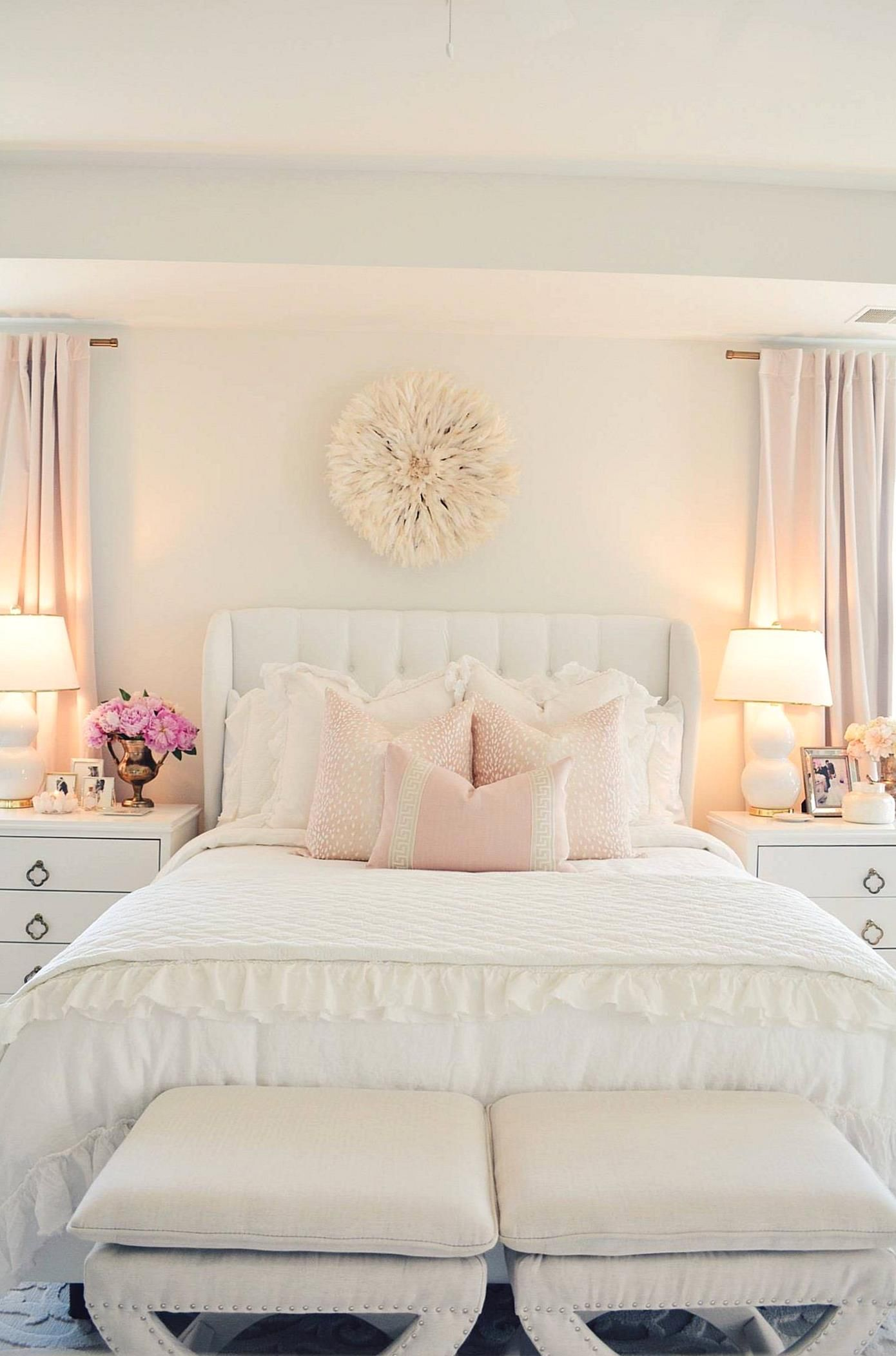 My All White Master Bedroom Recently Got A Mini Makeover For Spring And Im So Excited To Share Wi In 2020 White Master Bedroom Elegant Bedroom Master Bedroom Furniture