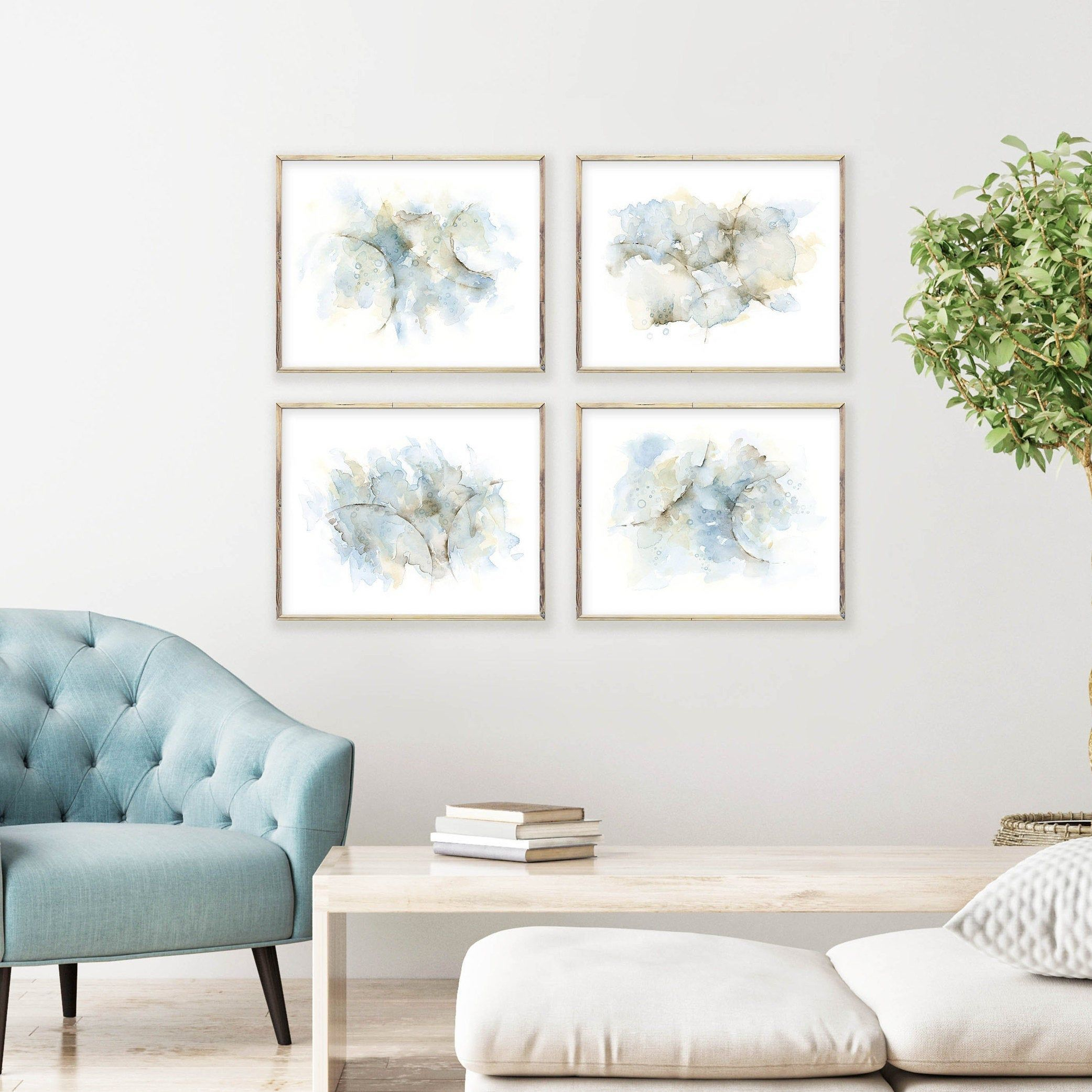 4 Piece Wall Art Abstract Painting Watercolor Art Print Set Etsy Brown And Blue Living Room Wall Art Living Room Wall Decor Bedroom
