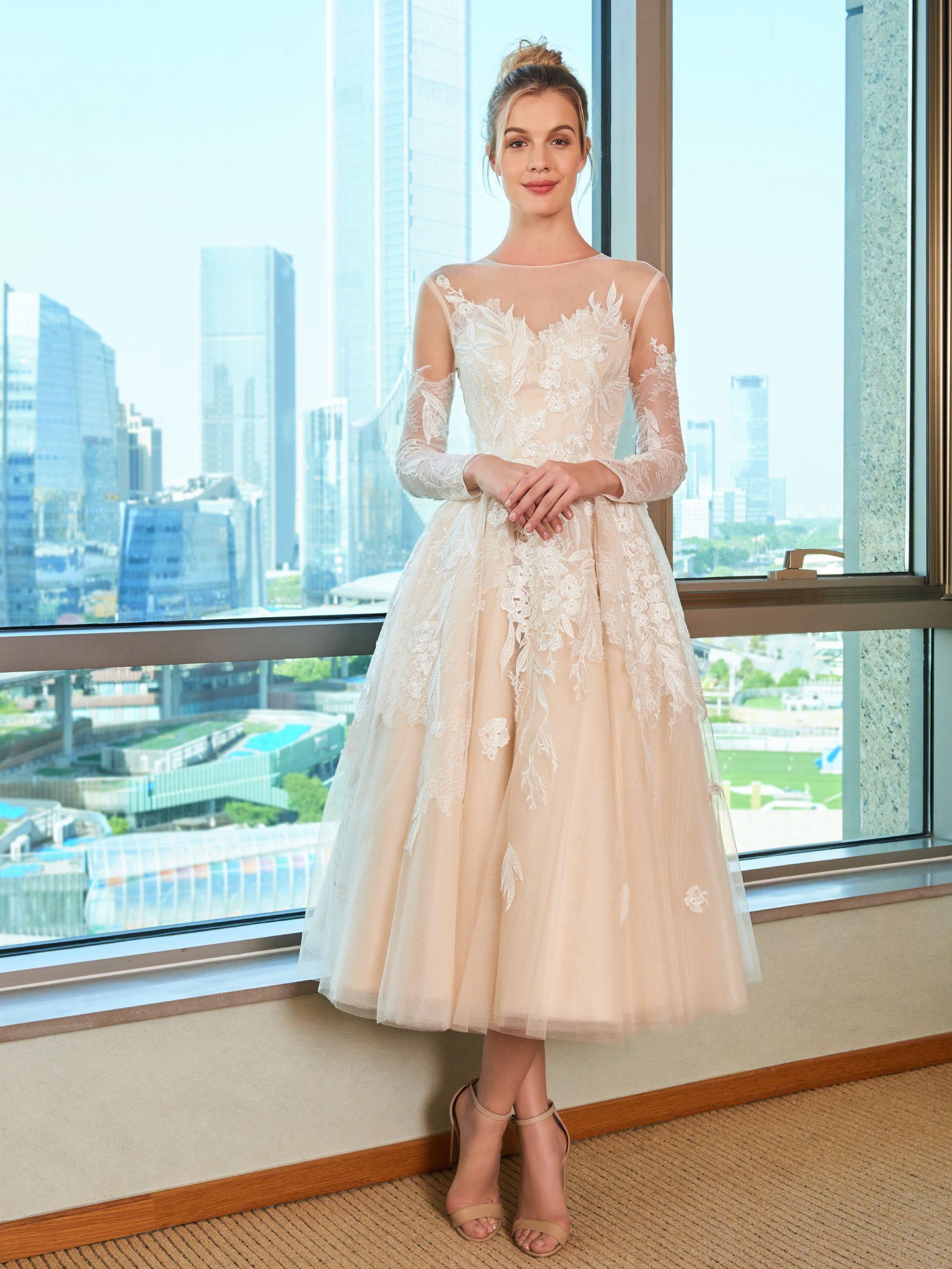 Tea length sleeve wedding dress  Appliques TeaLength Wedding Dress with Long Sleeve  Gorgeous