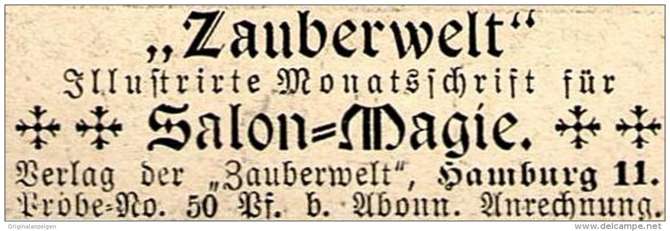 """Original-Werbung/ Anzeige 1897 - """"ZAUBERWELT"""" / SALON - MAGIE - ca. 45 x 15 mm"""