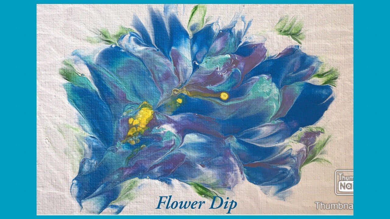 (331) 2nd Blue Flower Dip Acrylic Paint Pouring Technique ...