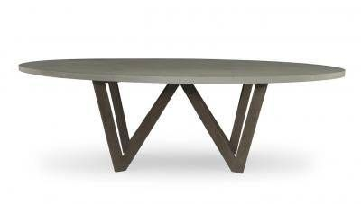 Bumble Outdoor Oval Dining Table With Powdercoated Cast Steel Legs Grey  Lava Rock Top Or Weathered