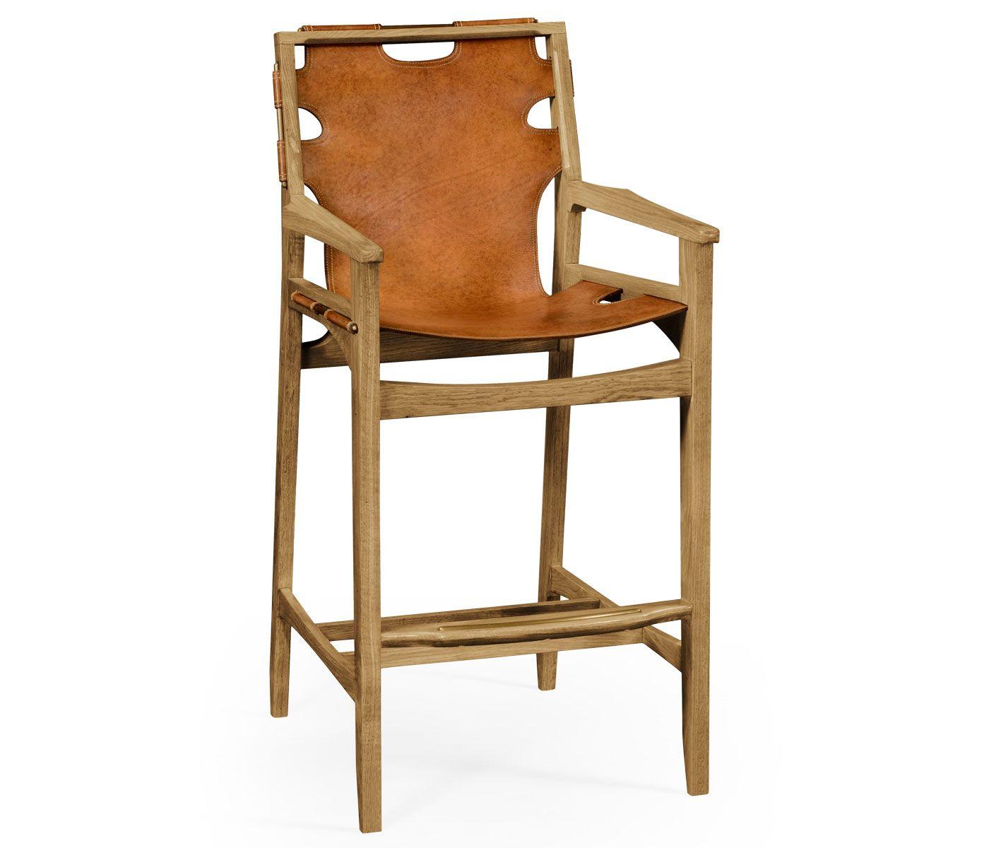 Midcentury style slung leather light oak bar stool   Oak ...