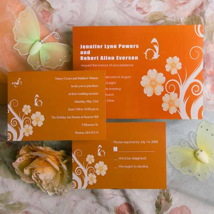 Summer orange butterfly and flower wedding invitations EWI018 ...