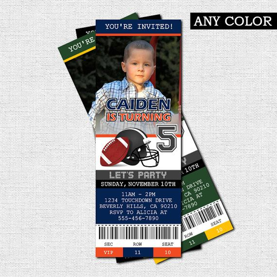FOOTBALL TICKET INVITATIONS - Birthday Party (Printable) Any team - invitation ticket
