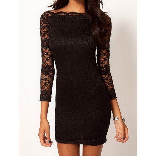 Fashion Lace long-sleeved dress - Black