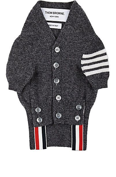 63d5a46a1f298f We Adore: The Block-Striped Cashmere Dog Sweater from Thom Browne at  Barneys New York