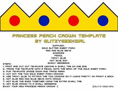 GLITZY GEEK GIRL Tutorial Princess Peach Crown DIY Pinterest - crown template