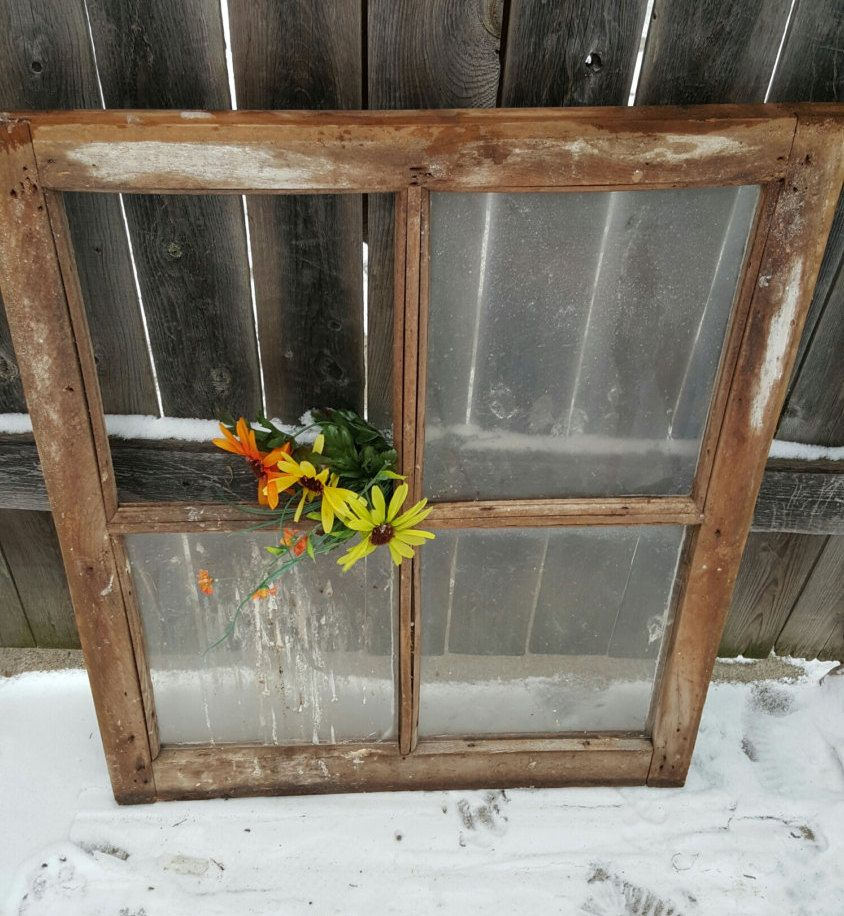 Vintage Antique Four 4 Pane Window Frame Sash With Glass Architectural Salvage Farmhouse Barn Window 308 By Architectural Salvage Window Frame Ladder Decor