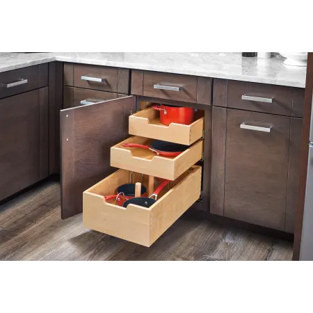 Rev A Shelf 4pil 24sc 3 Natural Maple 4pil Series 24 Inch Pull Out Base Organizer With One Deep Drawer Two Standard Drawers And Blumotion Slides In 2020 Kitchen Storage Kitchen Design Kitchen Drawers