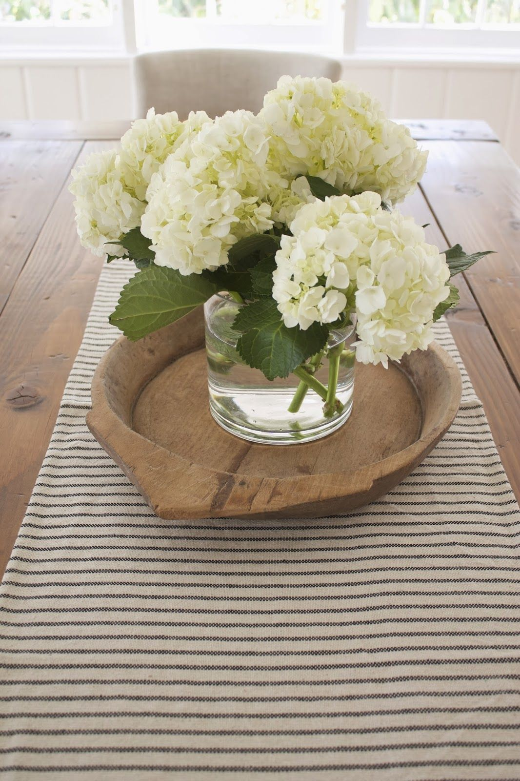 Nothing like a big hydrangea bunch on the table top for Floral centerpieces for dining room tables