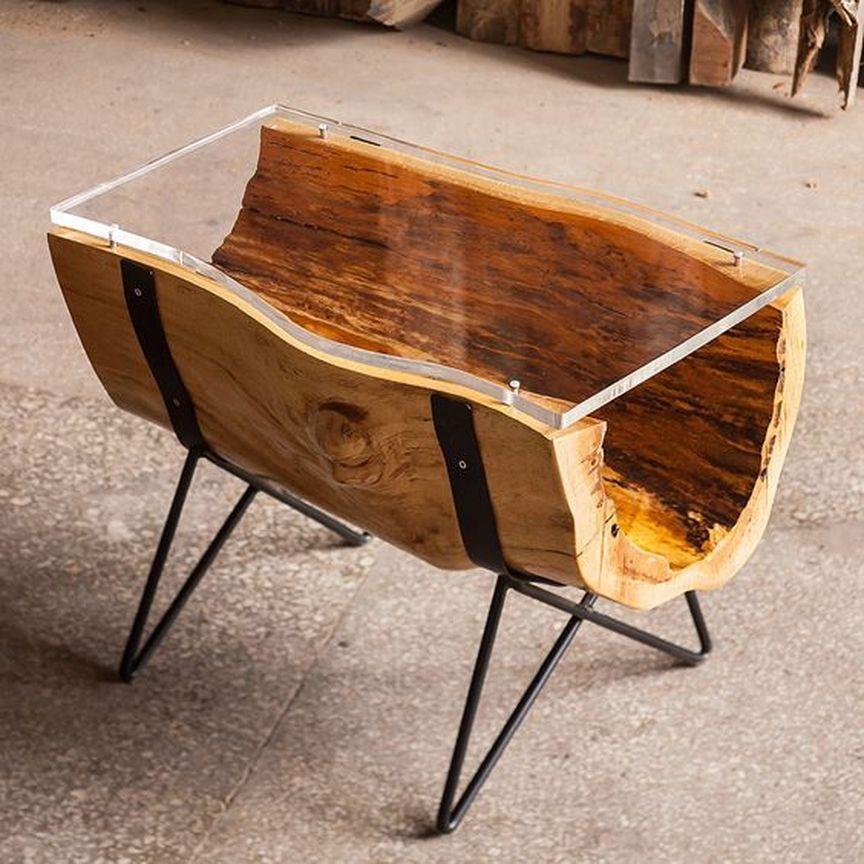 журнальный столик из стекла дерева и металлаwoodrusдизайн