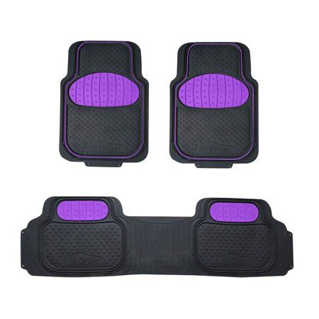 Fh Group Universal Trim To Fit Heavy Duty Rubber Touchdown Floor Mats 3 Piece Set Purple In 2019 Floor Mats Rubber Floor Mats Car Floor Mats