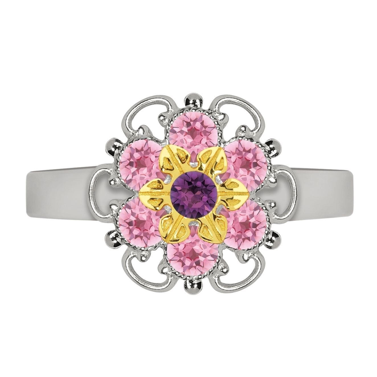 Lucia Costin Goldplated Sterling Silver Light Pink/ Violet Dot Ring