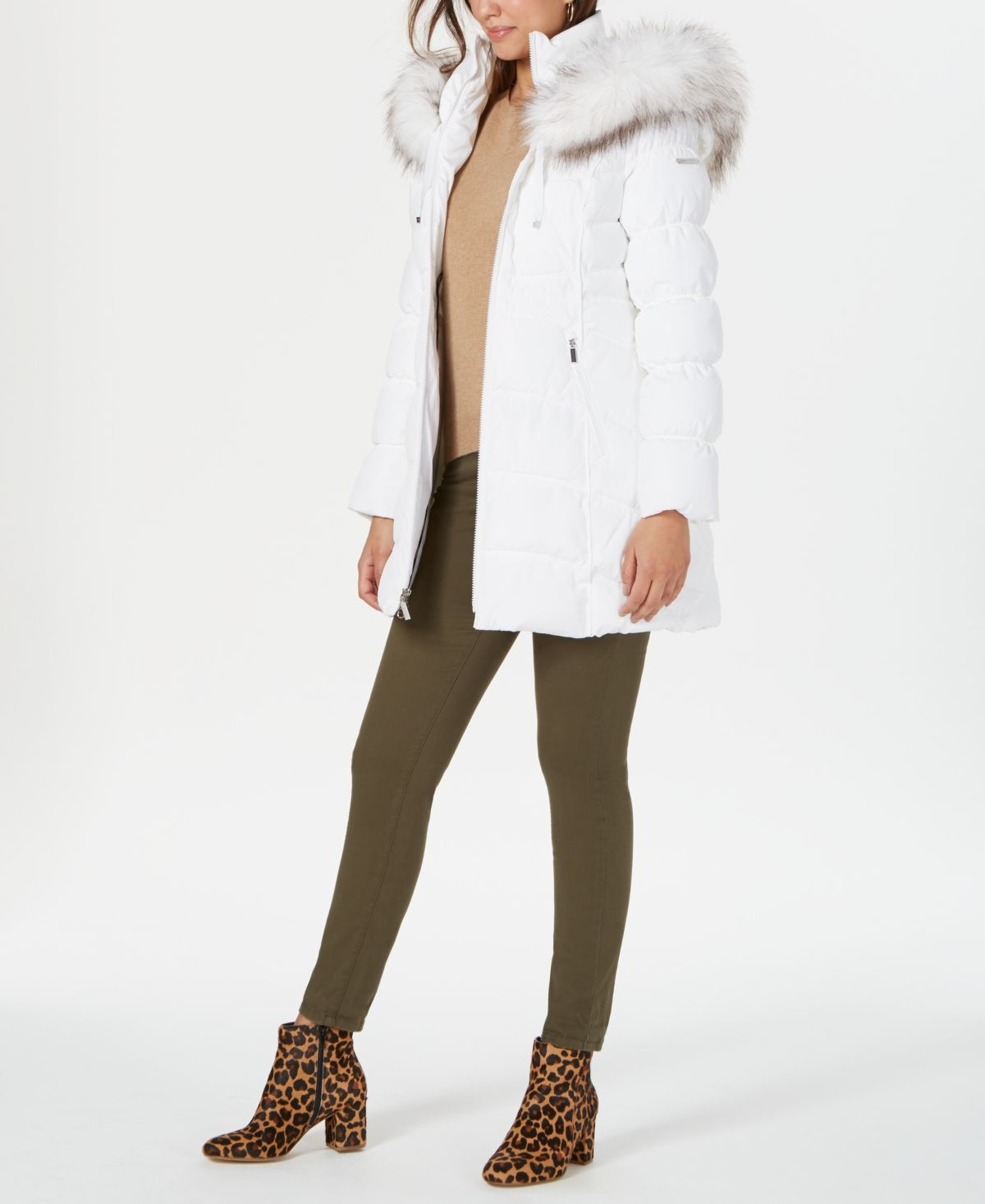 Laundry By Shelli Segal Faux Fur Trim Hooded Puffer Coat Reviews