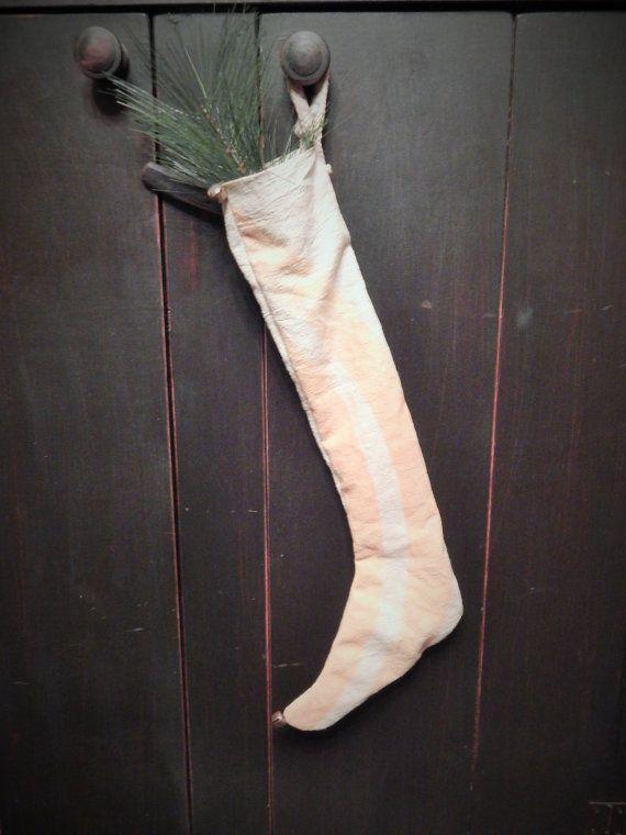Primitive Antique Feedsack Stocking with by TheTrugandTrowel