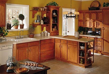 yellow kitchen walls with oak cabinets, yellow walls with golden brown cabinets Google Search