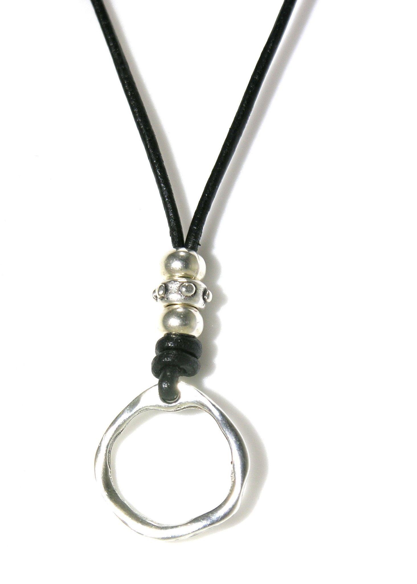 Leather Silver Adjustable Eyeglass Holder Necklace