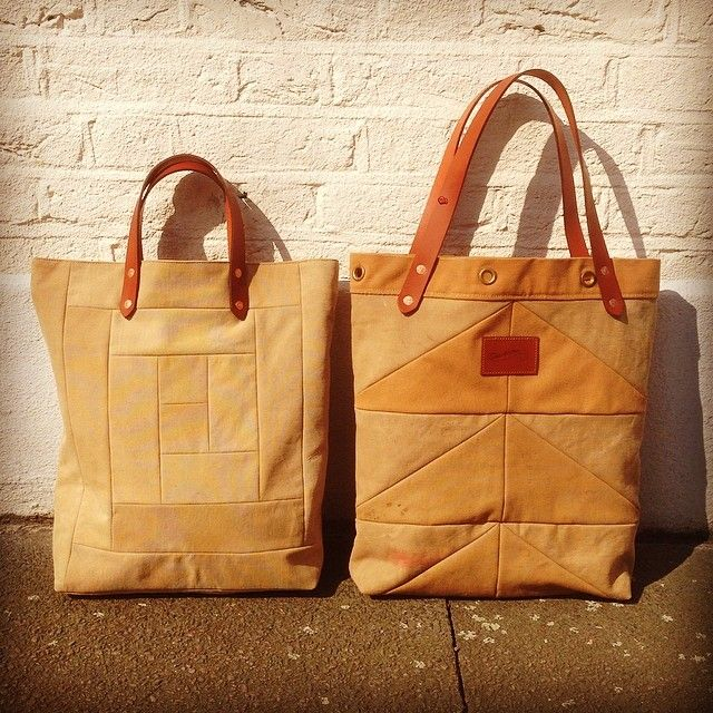 What to do with old jackets and kit bags? Make some tote bags using old quilting techniques. From Shackleton Bags.