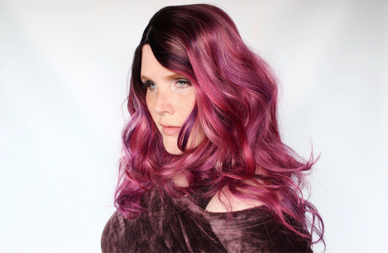 Long purple wig, pink purple wig, wavy purple wig, purple lace front wig, pink lace front -- Berry Jubilee