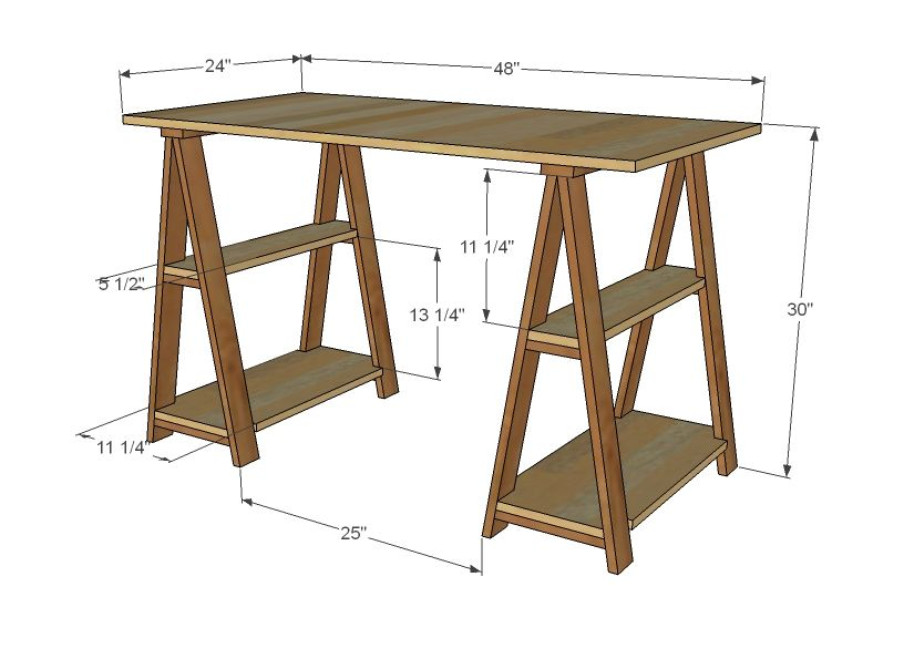 This Website Has Tons Of Free Plans For Building Your Own Furniture Because Spending A Couple Hundred Bucks For Diy Furniture Plans Trestle Desk Sawhorse Desk