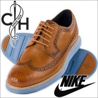 Cole Haan Lunargrand longwing brogues w/ blue Nike soles