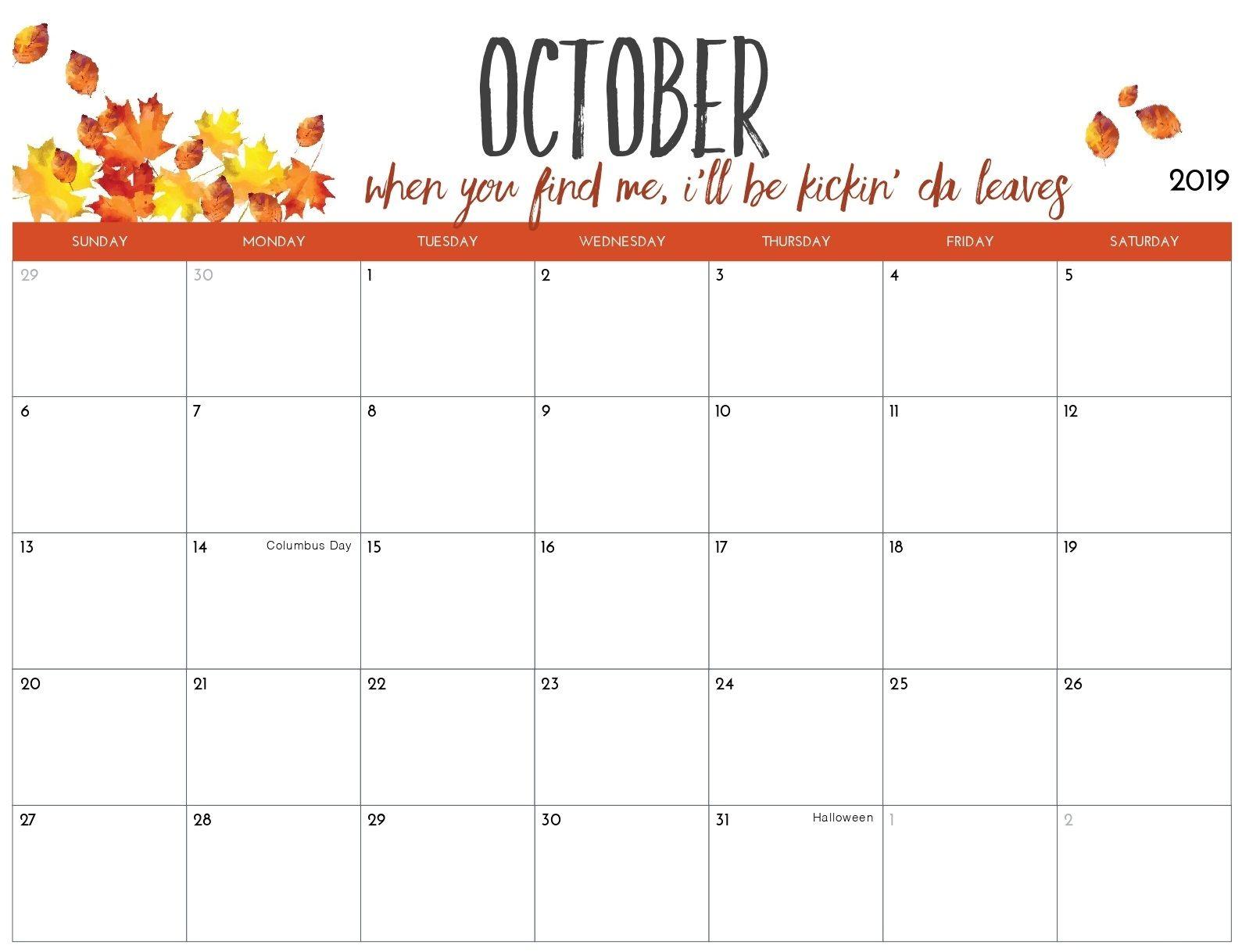Blank Calendar October 2019 Printable A4 Page October